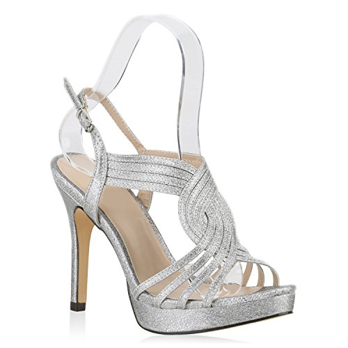 Stiefelparadies Damen Plateausandaletten Riemchen Sandaletten Glitzer Schuhe 144800 Silber Glitzer Autol 39 | Flandell®