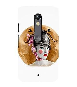 printtech Cute Beautiful Girl Face Back Case Cover for Motorola Moto X Play / Motorola Moto X Play Dual SIM