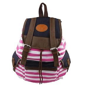 Rosa Mochila de lona del bolso de escuela de la raya linda estupenda para el bolso del ordenador port¨¢til de la escuela impermeable rosa
