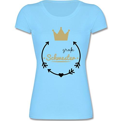 Shirtracer Geschwisterliebe Kind - Große Schwester - Krone - 140 (9-11 Jahre) - Hellblau - F288K - Mädchen T-Shirt (Shirt Kleine Mädchen)