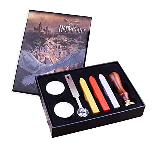 Harry Potter Siegelwachs-Stempel-Set, Retro-Harry Potter Alphabet Buchstabe Initiale Siegelwachs-Stempel-Set mit Schmelzlöffel/Umschlägen, Wachssiegel-Set Weihnachten Geburtstag Geschenk-Box Set Harry Potter Wax Set