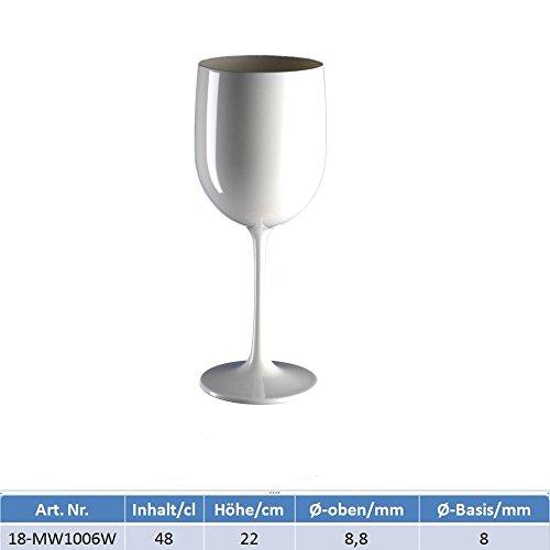 Weinkelch polycarbonat weiß 22 cm