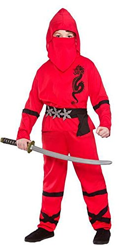 Boys Power Ninja Red Black Fancy Dress Up Party Costume Halloween Child Outfit