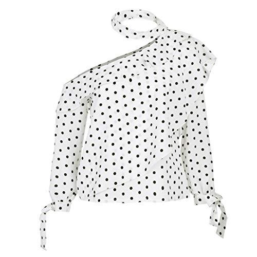 (Subfamily Frauen Eine Schulter Polka Dot Bluse Tops Laterne Ärmel Chiffon Bogen Shirt Mode Sommer Tops Sexy Schlank Shirt Fit Slim Langarmshirt)