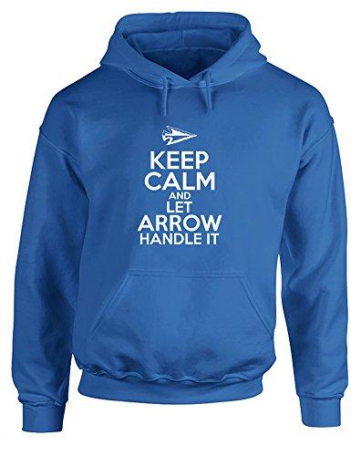 Keep Calm and Let Arrow Handle It, Gedruckt Hoody - Pullover - Königsblau/Weiß 2XL = 127-132cm