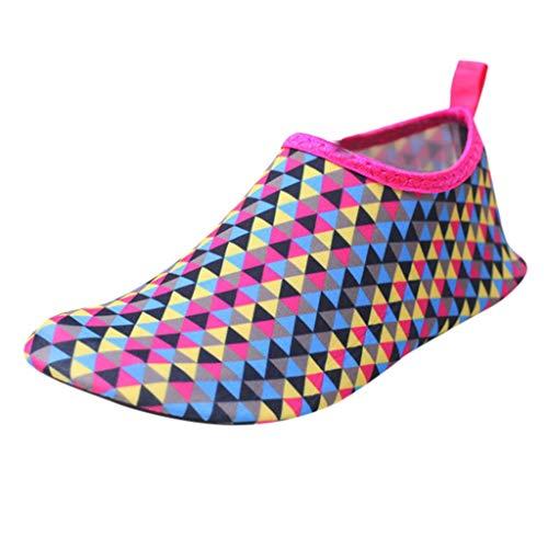 TianWlio Badeschuhe Strandschuhe Wasserschuhe Aquaschuhe Schwimmschuhe Surfschuhe Strandschuhe Wassersport Unisex Wasser Schuhe Barfuß Yoga Socken Tauchen Barfuß Hot Pink S