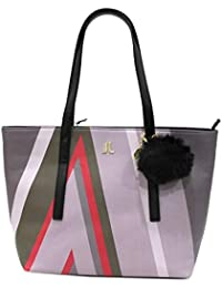 Lancetti Borsa donna similpelle modello shopping a spalla con pon pon 7508  nero ec83364881d