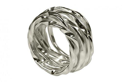 SILBERMOOS XL XXL Ringe in großen Größen Damen Herren Kordel Ring Wickelring gewickelt matt Größe 64, 66, 68, 70 Sterling Silber 925, Größe:66 (21.0)