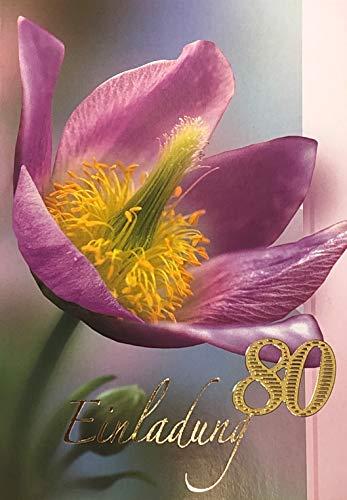 Einladungskarten 80. Geburtstag Frau Mann mit Innentext Motiv Blume 10 Klappkarten DIN A6 im Hochformat mit weißen Umschlägen im Set Geburtstagskarten Einladung 80 Geburtstag Mann Frau K221 (80. Geburtstag Einladungen)