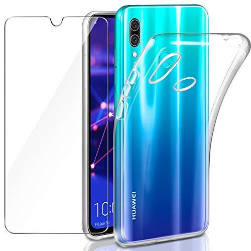Leathlux Huawei P Smart 2019 /Honor 10 Lite Hülle + Panzerglas, P Smart 2019 Durchsichtig Case Transparent Silikon TPU Schutzhülle Premium 9H Gehärtetes Glas für Huawei P Smart 2019/ Honor 10 Lite