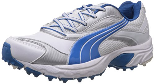 Puma Men's Lithium Rubber DP White, Brill Blue and Puma Silver Running Shoes - 11 UK