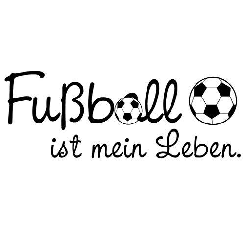Wandtattoo: Fußball ist mein Leben / 49 Farben / 4 Größen / schwarz / 20 x 53 cm