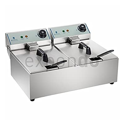 Royal Catering - RCEF-10DY-ECO - Double friteuse - 2x 3200 Watts de puissance - Capacité max: 2 x 8 Litres - Modèle ECO