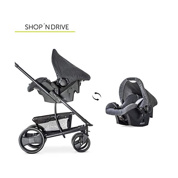Hauck Pacific 4 Shop N Drive, Lightweight Pushchair Set with Group 0 Car Seat, Carrycot Convertible to Reversible Seat, Footmuff, Large Wheels, From Birth to 25 kg, Melange Charcoal Hauck  17