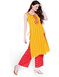 06f45ace7e Ateesa by FBB Women's Straight Synthetic Kurta (1000738615001_Yellow_XS)