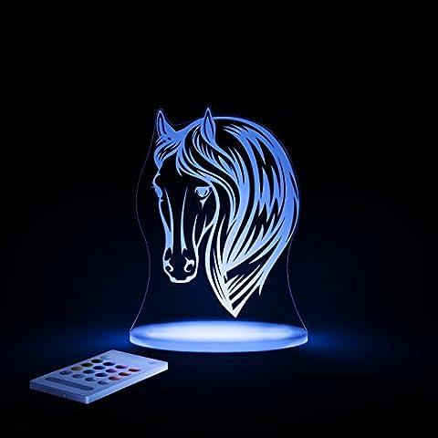 Aloka Sleepylight luz nocturna en forma de cabeza de caballo con mando a distancia para niños