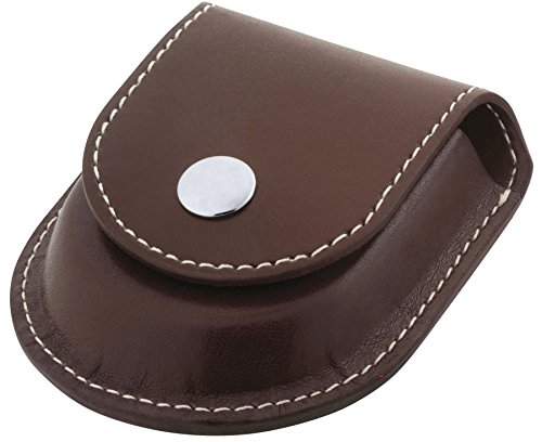 Belt Loop Case for Pocket Watch Brown Leatherette - Chrome Button - Gents Gift -