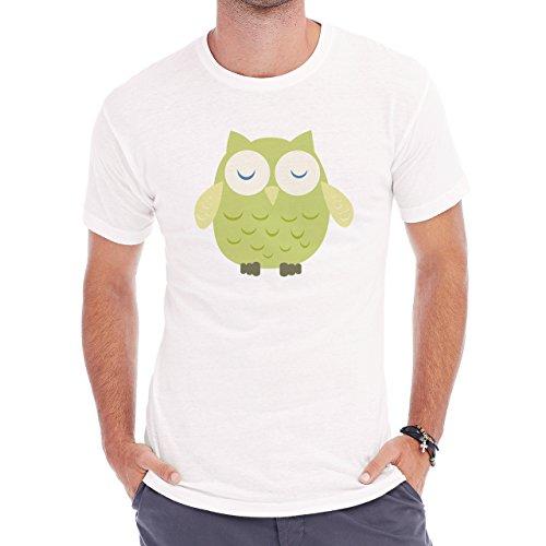 Owl Bird Night Midnighter Green Cartoon Herren T-Shirt Weiß