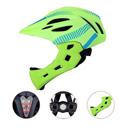 BLLJQ Casco Cycling per Bambini, Casco Integrale, con Mento Staccabile Traspirante for Bici MTB BMX Climbing (Giallo Fluorescente)
