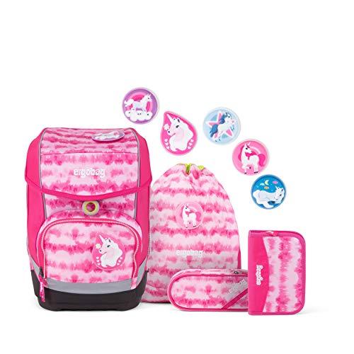 ergobag Cubo Schulranzen-Set 5tlg. ZauBärwatte 19 Liter Pink Weiß