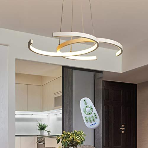 LED Pendelleuchte Esstisch Hängeleuchte 38W Dimmbar mit Fernbedienung Pendellampe, Modern Landhaus Stil Acryl Lampenschirm Design Kronleuchter für Wohnzimmer Deckenleuchte Esszimmer Lampe (weiß)