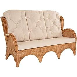 korb.outlet Canapé 3 places en rotin avec coussin, canapé style fauteuil à dossier haut Blanc vintage