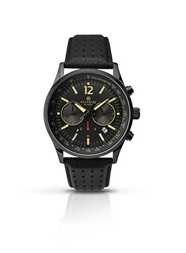 Accurist Men's Quartz Watch with Black Dial Analogue Display and Black Leather Strap 7118.01