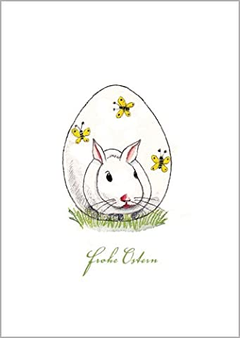 Im 5er Set: Osterkarte: Frohe Ostern mit Mini Häschen vor Osterei