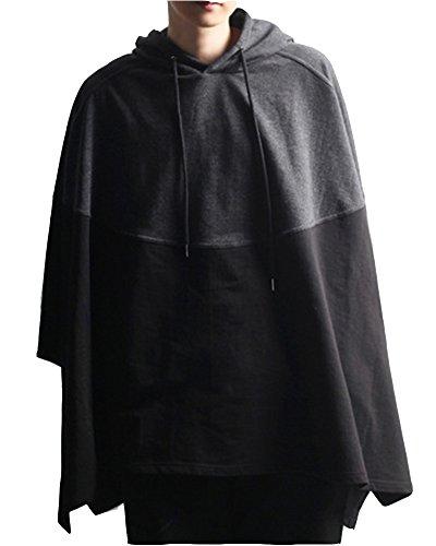 Herren Spleiß Revers Freizeit Lange Ärmel Hoodie Lose Mantel Sweatshirts Schwarz Grau M