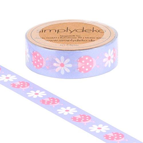 Simplydeko Washi Tape - Masking Tape mit Tieren und Blumen - Wundervolles Washitape Bastel-Klebeband aus Reispapier - Marienkäfer