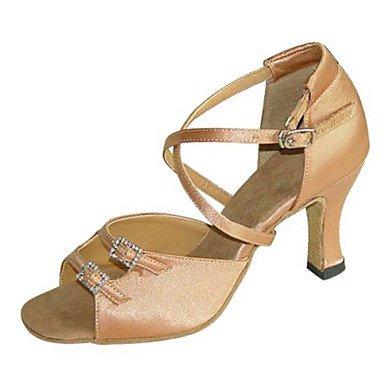 Scarpe da ballo - Non personalizzabile - Da donna - Balli latino-americani / Salsa / Samba / Scarpe da swing - Quadrato - Raso -Nero / Brown