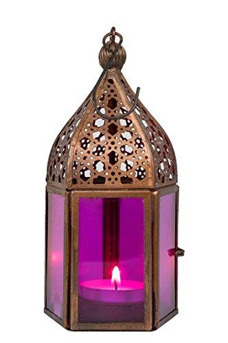 Wand Hängende Kerzen (Orientalische Laterne aus Metall & Glas Meena pink 16cm | orientalisches Windlicht | Marokkanische Glaslaterne für innen | Marokkanisches Gartenwindlicht für draußen als Gartenlaterne)