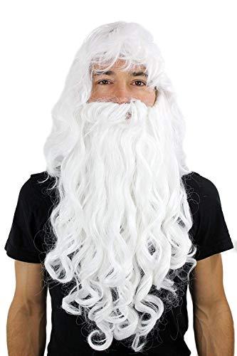 NIUJF Perücke Damen Herren Karneval Fasching Weihnachtsmann Mit Bart Assistent Dumbledore Halloween
