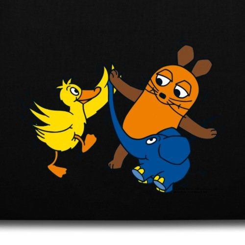 Sendung Mit Der Maus Tanzt Mit Elefant Und Ente Stoffbeutel von Spreadshirt® Schwarz