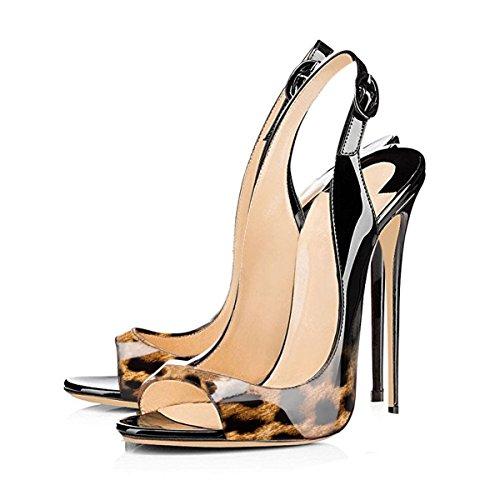 Onlymaker Damen Sandalen High Heels Slingback Stiletto Peep Toe Pumps Glitzer Party Leoparden2