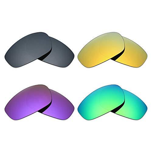 MRY 4Paar Polarisierte Ersatz Gläser für Oakley Split Jacke sunglasses-black Iridium/24K Gold/Plasma violett/Smaragd Grün