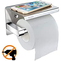 Toilet Roll Holder without Drilling, Telgoner Self-Adhesive Stainless Steel Toilet Paper Holder Toilet Roll Holder Toilet Paper Roll Holder (Wall Mount Toilet Roll Holder with Storage
