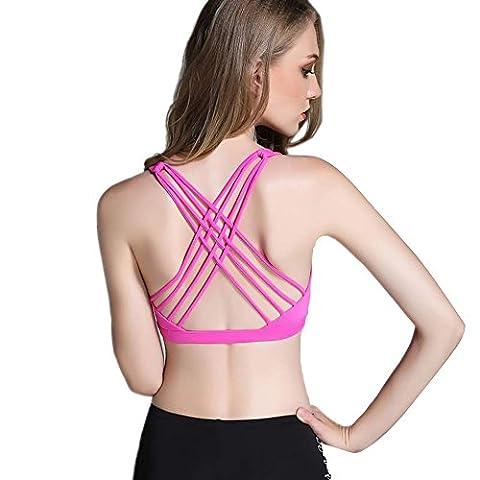 Keysui Women Light Support Strappy Cross Back Workout Yoga Gym Sports Bra Top