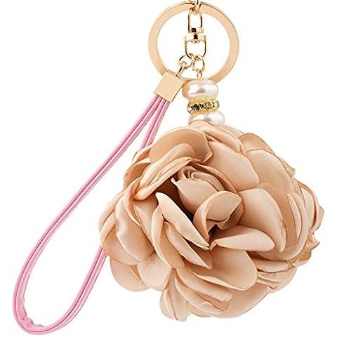 Sweet Home-Portachiavi auto in cotone, con anello portachiavi e fiori, con pendente a forma di borsetta con PU Strap