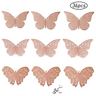 nuosen 36 Pcs Butterfly Wall Stickers, Rose Gold 3D Butterfly Wall Stickers DIY Art Decor 3D Wall Decals for Home, Bathroom, Party Decoration
