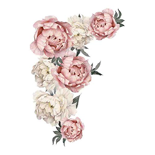 LELTWS Wandaufkleber Bad Aufkleber Pfingstrose Rose Blumen Wandtattoo Kunst Kinderzimmer Wanddekoration Aufkleber Kinderzimmer Wohnkultur Geschenk Zimmer Aufkleber -