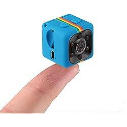 Pawaca Caméra Cachée 1080P Mini Caméra SQ11 Spy Caméra Web Portable Sport DV Caméra avec Vision Nocturne et Détection de Mouvement pour Caméra de Surveillance de Sécurité (Bleu)