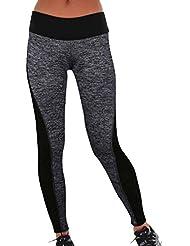 QIYUN.Z Femmes Noires Gris Patchwork Physique Leggings Mince Yoga Fonctionnement Des Pantalons De Yoga Sportif
