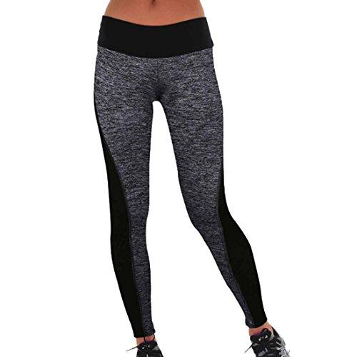 QIYUN.Z Femmes Noires Gris Patchwork Physique Leggings Mince Yoga Fonctionnement Des Pantalons De Yoga Sportif - S