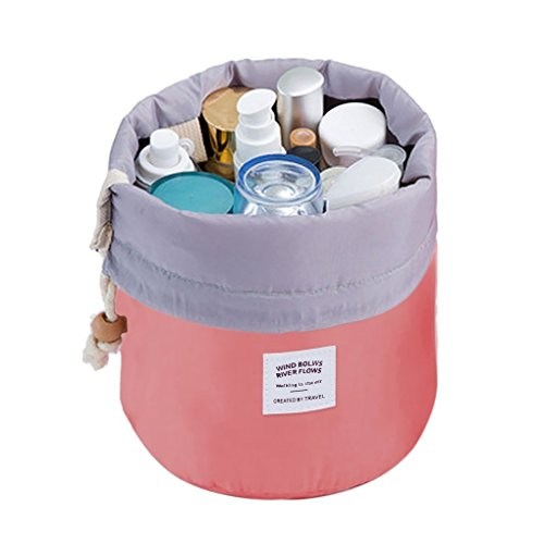 Orpio Bucket Barrel Shaped Cosmetic Makeup Bag Travel Case Pouch