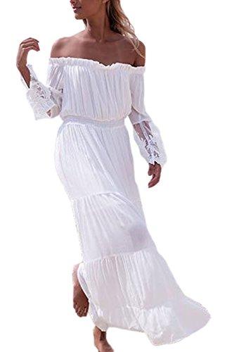 Frauen In Eleganten Langen Ärmel Schulter Ab Boot Hals Spitzen Patchwork - Tunika Maxi - Kleid White M (Schulter-boot)