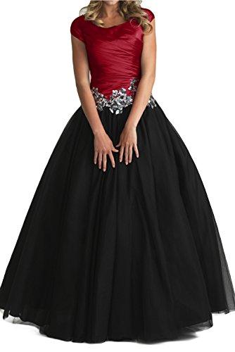 Gorgeous Bride Elegant A-Linie Taft Applikation Tuell Ballkleid Lang Brautmutter Abendmode Weinrot