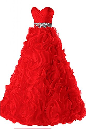 Sunvary elegante Sweetheart Pageant Gowns, abiti da sera Ruffles Rosso