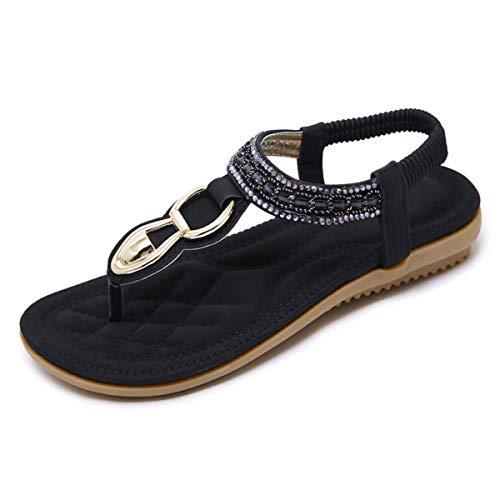 SANMIO Damen Sandalen Flach Sommerschuhe Frauen PU Leder Bohemian Sandals Elastischen Strand Schuhe Zehentrenner