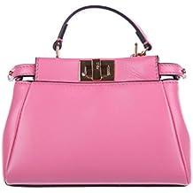 Fendi borsa donna a mano shopping in pelle nuova micro peekaboo rosa